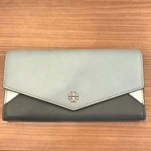 Tory Burch Blue and Silver Fold Wallet